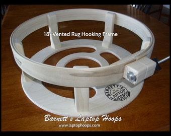 "Barnetts Rug Hooking Laptop Lap Frames 16"" with heavy duty 2 inch hoops"
