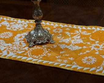 Table Runner Kaleidoscope Blocks Quilted Cottons Free USA Shipping Summer Table Topper One of a Kind