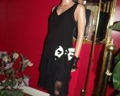 Vintage  Black Dress Flapper G.Gatsby  does 20-30s Theme Size 10