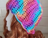 Happiness Rainbow Hand Dyed Merino Wool Silk Sparkle Luxury Crochet Hat Teen Adult Size by keiara SRA