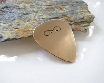 Infinity Love - Guitar Pick, Hand Stamped Bronze - Made to Order