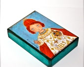 Infant Jesus of Prague - Aceo Giclee print mounted on Wood (2.5 x 3.5 inches) Folk Art  by FLOR LARIOS