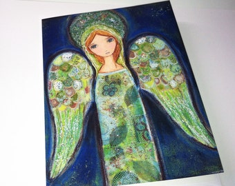 Angel Verde - Greeting Card 5 x 7 inches - Folk Art By FLOR LARIOS