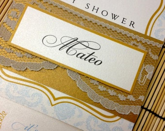 Prince baby shower invitations announcement - lace gold