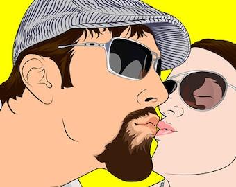 Custom Couple Portrait — Anniversary Gift for Women, Anniversary Gift for Her, Anniversary Gift for Girlfriend, Anniversary Gift for Wife