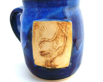 Pottery Mug Purple Rooster Ceramics and Pottery by Jewel Pottery