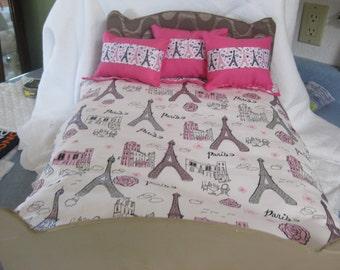"1 American Girl Inspired  18"" Doll Bedding Paris Eiffel Tower Theme Three Pillows"