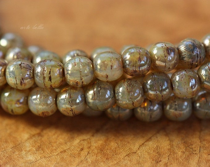 CASHMERE DRUKS 4mm .. 50 Picasso Czech Druk Glass Beads (4115-st)