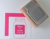 Mason Jar Save the Date Personalized Rubber Stamp