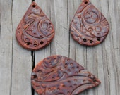 Pottery Cuff Bead, The teardrop with matching teardrops for earrings in Copper Brown