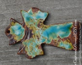 Pottery Cross PENDANT Bead in a worldly mix of blues, greens and browns