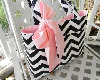 Black and White Chevron Tote Bag, Bridesmaids Gift Tote, Diaper Bag with a Baby  Pink Bow or You can Choose a Different Color for the Bow
