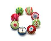 Summer Garden Fabric Button Push Pins, Spring, Colorful, Office Thumbtack, Office, Push Pin, Garden, Set of 8, Button Push Pin