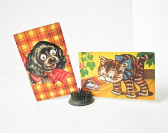 2 Vintage Postcards, Dog Cat, Google Eyes, Squeaker Post Card