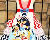 Custom Girls Disney Cruise Mickey Minnie and Gang ruffled dress sizes  3 4 5 6 7 8 9 10