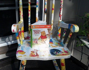 Decoupage Winnie The Pooh Saves The Day Childs Rocking Chair