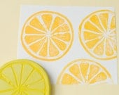 lemon slice hand carved rubber stamp, handmade rubber stamp