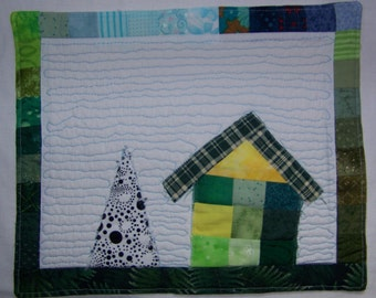 Patchwork Cottage #1  Mini Quilt  'Pieceful Green' Quilted Mug Rug or Art Quilt