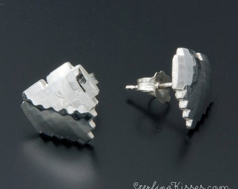 8-bit Heart Earrings in Sterling Silver