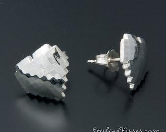 8-bit Heart Earrings in Sterling Silver