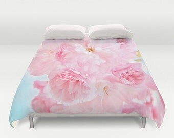 "Duvet Cover Made to Order ""Soft Blue Sky with Pink Peonies"" Decorative bedding, unique design, flower,petals,happy,comforter,bedroom,blanket"