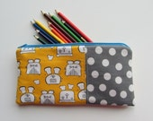ZIPPER POUCH for Pencils, Make up, Coupons, Rectangle Zipper Bag, Yellow and Grey Toast and Dots