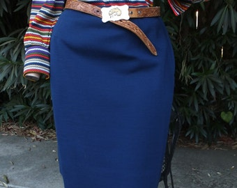 Vintage Pencil Skirt, Loubella, Navy Blue Wool Pencil Skirt, Career Skirt, waist 30 size 16