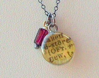 Dictionary Word Necklace Dictionary Drop Necklace - says RESTORE - with oxidized sterling silver chain