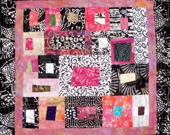 Serendipity - Pink Delight - Pink|Black &  White  Art Quilt Modern Wall Hanging