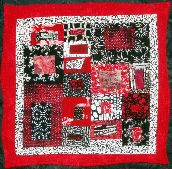 Modern Red  Art  Quilt Wall Hanging A Friend Loves At All Times