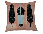 """Modern Quilt Pillow in """"Feathers""""  / Natural Dyed Decorative Throw Pillow / 20"""" x 20"""" Pillow"""