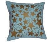 """Metallic Gold and Light Blue """"Star Bright"""" Decorative Throw Pillow / Gold and Light Blue Pillow / 16"""" x 16"""" Throw Pillow / Star Print Pillow"""