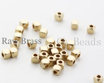 100pcs RAW Brass Cute Square Spacer  - 3mm (1696C-T-49)