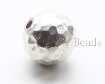 One Piece S925 Sterling Silver Hammered Ball Spacer - 14mm