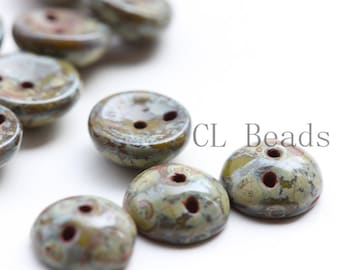 50pcs Czech Pressed Glass Piggy Beads - Opaque Olivine Travertine 4x8mm (PG96211)
