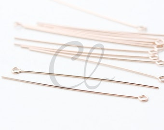 6 Pieces 14K Rose Gold Filled Findings - Eye Pin 1.5 Inch (38mm)