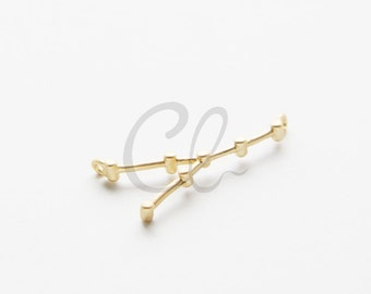 2pcs Premium Matte Gold Plated Brass Base Charms-Zodiac-Taurus 26x13mm (1156C-U-183)