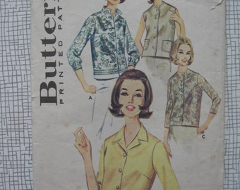 """1960s Blouse - 38"""" Bust - Butterick 2683 Sewing Pattern"""