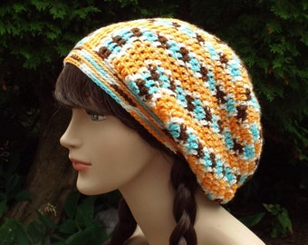 Multicolor Slouchy Beanie, Womens Crochet Hat, Oversized Slouchy Beanie, Slouch Hat, Baggy Beanie, Slouchy Hat, Orange Brown Aqua