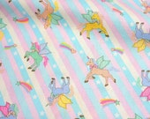 """Unicorn fabric Rainbow and heart 50 cm by 106 cm or 19.6"""" by 41 inch half meter"""