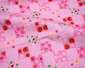 Strawberry Cherry flower print square style 1 yard nc12