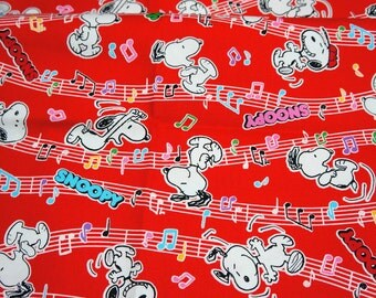 Snoopy Print Japanese Fabric 50 cm by 106  cm or 19.6 inches by 42 inches