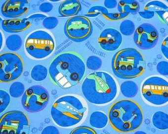 Transportation Print  Japanese fabric Half meter 50 cm by 106 cm or 19.6 by 42 inches nc35