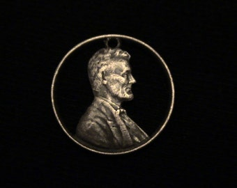 US - cut coin pendant - from US copper penny - w/ Abraham Lincoln -1953