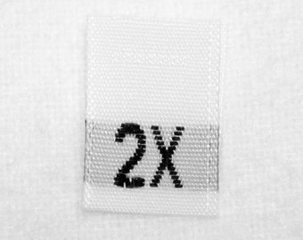 Size 2X (Two Extra Large) Woven Clothing Size Tags (Package of 500)