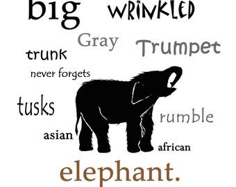 Baby Elephant Typography Print Animal Nursery Wall Art Nature Decor