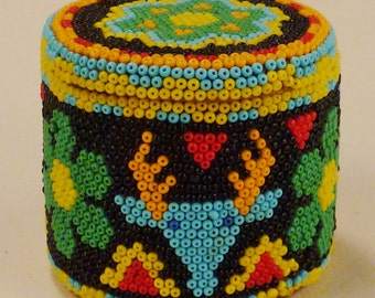 BEADED BOX  Southwest Spirit Box colorful Vintage Handcrafted Folk Art great condition app 3in D 2 in T