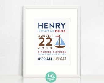 Custom Birth Announcement Print - SAILBOAT Wall Art