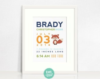 Custom Birth Announcement Print // FOX Wall Art // Nursery Print // Birth Stat Poster // Woodlands Theme Nursery // 8x10 Print