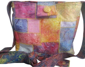 Cross Body Patchwork Tote Purse in Pink, Yellow and Lavender Batik